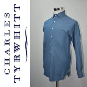 CHARLES TYRWHITT Dress Shirt Size M 16 Blue Cotton